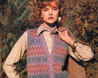 Lady's Sleeveless Cardigan Waistcoat - Size 81 to 97 cm (32 to 38 inches) - Sunbeam Aran 618 - Vintage Retro Knitting Pattern