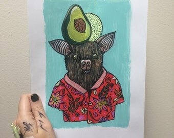 Fruit bat with fruit hats print of original acrylic and ink artwork