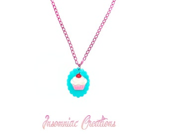 Cupcake Cameo Necklace ~ Pinup Rockabilly Candyland