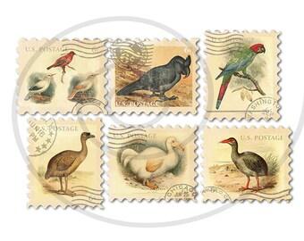 Fake stamps. Old postage stamps. Vintage digital stamps. Postage stamp art. Digital collage sheet. Extinct birds. Instant download PNG