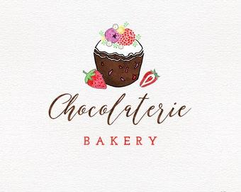 Custom bakery logo  - chocolate cupcake logo design - watermark logo - baking branding - personalized branding - sweets logo