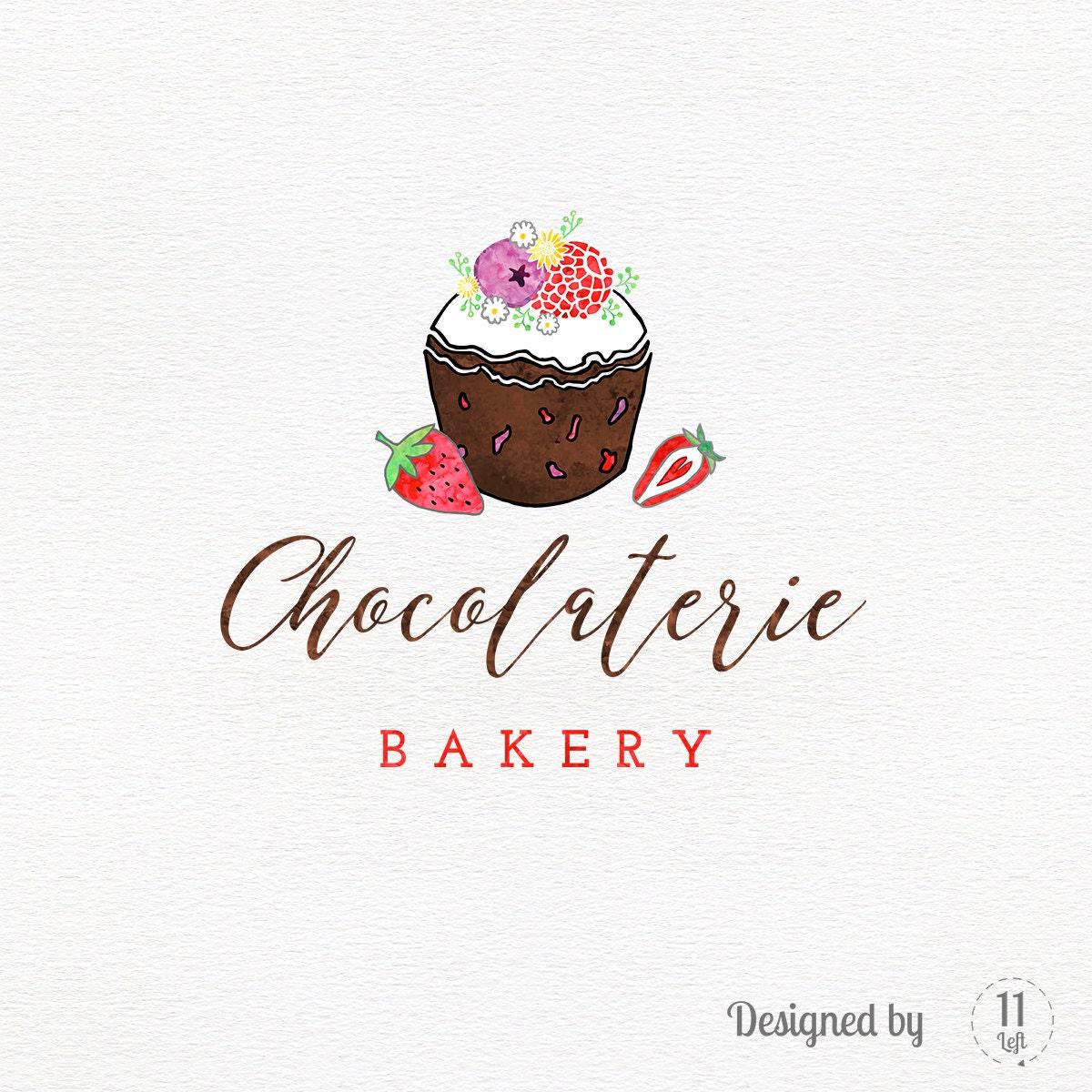 Custom Bakery Logo Chocolate Cupcake Logo Design