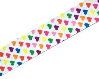 "3 yards - 1.5"" Rainbow Hearts Grosgrain Ribbon"