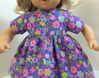 """15 inch SPARKLING Purple & Pink """"Whimsical FLOWERS,Butterflies,Hearts"""" Dress, 15"""" AG American Doll Bitty Baby/Twin, 15"""" Bitty Baby Clothes"""