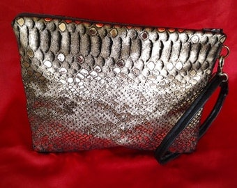 Bronze brown leather snakeskin clutch BBsCustomClutches reptile clutch leather clutch bronze snakeskin clutch leather crossbody