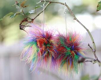 Feather Pom Pom Earrings, Rainbow Pom Pom Earrings, Puff Earrings, Feather Earrings,  Rainbow Earrings, Rainbow Feather Earrings