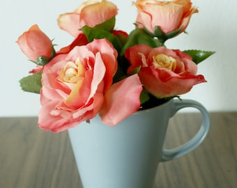 Pink Roses, Muted Teal Mug, Faux Flowers