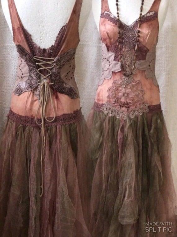 Boho wedding dress woodland nature dresselven fairy for Woodland fairy wedding dress