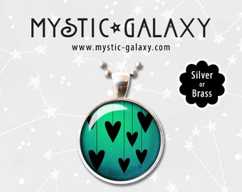Hearts Pendant, Silhouettes, Vintage, Glass Dome, Heart Necklace, Heart Pendant