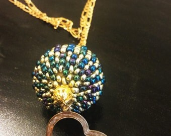 Blue and Gold Beaded Pendent sphere ball shape goldfiled Necklace love heart