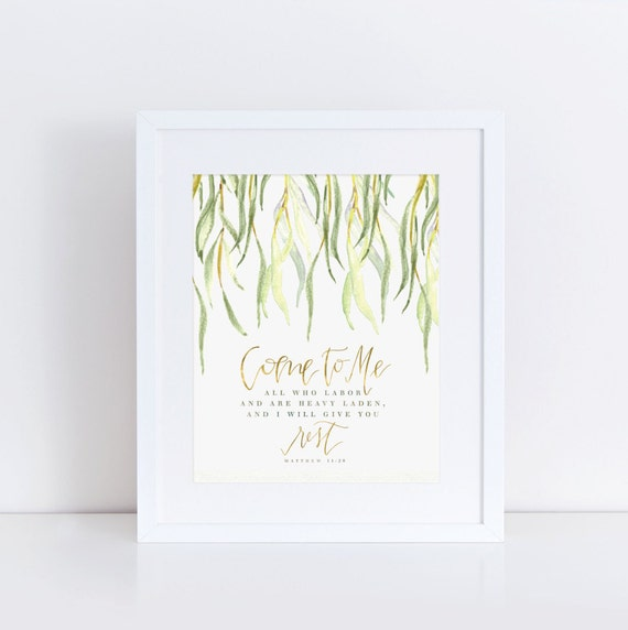 Watercolor calligraphy art scripture come to me give