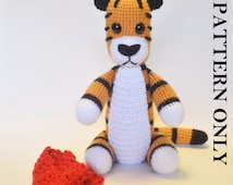 Crochet Hobbes Tiger Pattern.  (With removable scarf)