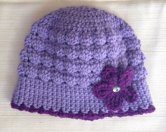 Lilic Custer Beanie, Purple Beanie, Beanie with Flower, Baby Hats, Toddler Hats, Crochet Custer Hats, Kids Spring Hats