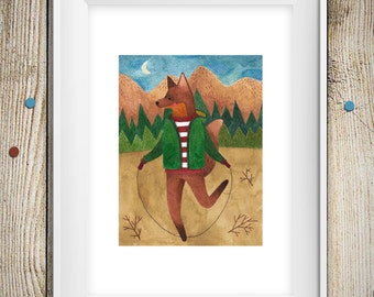 Fox Watercolor Print , Fox Illustration , Watercolor Painting ,  Woodland Animal Print , Art For Kids Room , Limited Edition of 10 prints