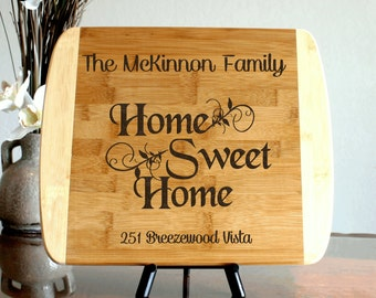 Housewarming Gift Personalized Cutting Board Home Sweet Home Custom Engraved Thick Cutting Board New Home Gift Realtor Closing Gift