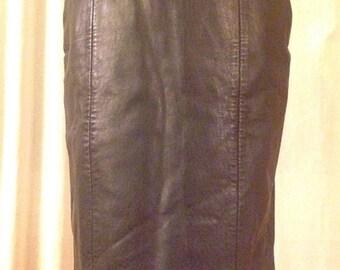 Vintage 1980s Black Leather Pencil Skirt