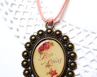 Cameo Pendant Shabby, Calligraphy Jewelry, Large Cameo Necklace, Shabby Chic Roses Necklace, Botanist Gifts, Quote Necklace, Rose and Leaves