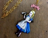 "Alice in wonderland, ""Drink me"" Charm Necklace, Gold brass, Wodden, Pink Blue, Once Upon a Time Jewelry, Lewis Carroll Art necklace"