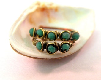 Set of Two Wire Wrapped Rings Teal, Mid-Ring, Shaped & Hammered Copper Finger Rings, Adjustable rings, Stackable Rings, stacking ring, Art