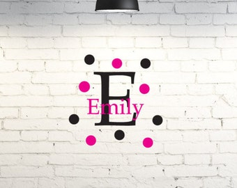 Vinyl wall art for kid's room.  Monogram with name and polka dots. Custom children's wall art. Name and initial. Wall decal for bedroom