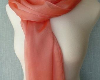 Coral Silk Iridescent Chiffon Scarf