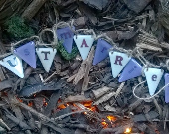 4eva - Fused glass bunting 'Just married' VARIOUS COLOURS AVAILABLE