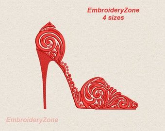 High Heel Shoe machine Embroidery Design Shoes designs. 4 sizes Hoop 5x7 6x10 7x11.  Embroidery Design High Heel red Shoe