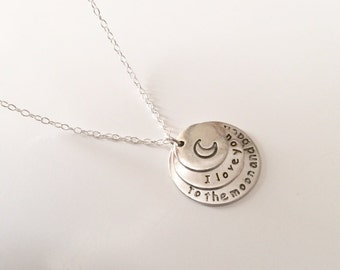 I Love You To The Moon And Back Necklace, Moon Necklace, Silver Moon Necklace, Boho Necklace