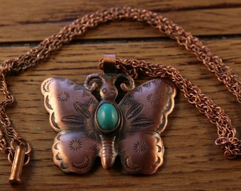 Large Copper Butterfly Necklace Faux Navajo Necklace Pendant Butterfly