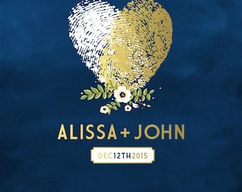 The ALYSSA . Fingerprint Guestbook . Navy & Gold Chalkboard . Your own fingerprints are used . Custom Alternative Wedding Sign . PDF