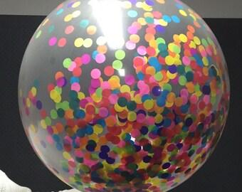 Giant Round Rainbow Handpunched Confetti Balloon
