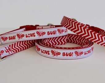 READY TO SHIP! Love Bug or Red Chevron Collar and Double Sided Leash