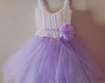 Crochet Dress with tulle Tutu - Sophia