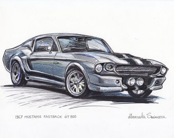 1967 Ford Mustang Fastback Eleanor Illustration Classic Car Drawing Print Custom Muscle Car Sketch Painting Automotive Poster Gift Auto Art