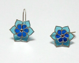 enamel earrings little blue flowers