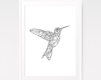 Hummingbird, Polygon Art, Geometric Art Print, Wall Art Printable, Geometric Print, Black Line Art, Geometric Wall Art, Simple Decor