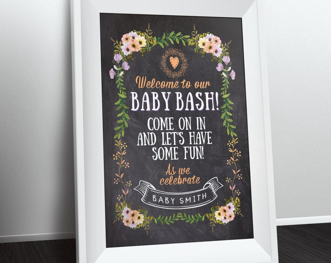 Welcome sign, Floral, rustic, BOHO, BabyQ chalkboard couples co-ed Baby Shower BBQ - babyq - boy girl- baby is brewing, baby girl shower
