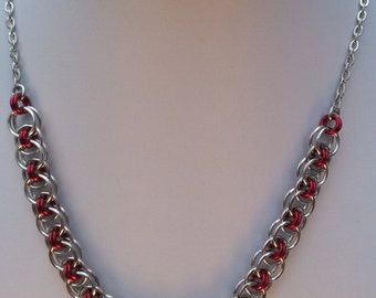 Simple Chainmaille Necklace and Earrings in Silver and Red