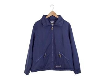 NAUTICA COMPETITION JACKET // blue nautica jacket / full zip / minimal / lined / sailboat / nautical / simple / 90s vintage / womens / large