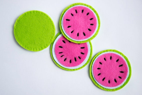 Items Similar To Pink Watermelon Coasters Set Of Four