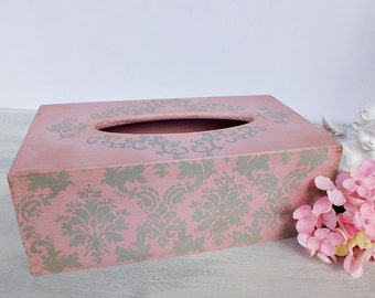Kleenex box holder Napkin holder wood Tissue box cover Kleenex box cover Tissue holder vintage Pink bathroom decor Shabby chic home decor