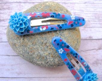 Blue Hair Clip, Flower Hair Clip, Blue Flowers, Flower Hair Accessories, Dahlia Flower