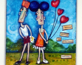 Whimsical character art ~ Doodle ~ Original mixed media painting ~ UNTIL TODAY