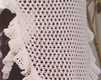 Vintage double knot stitch crocheted shawl pattern