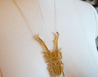 Gold Mirror Stag Beetle Necklace, Laser Cut Acrylic, Geometric Necklace, Futuristic Jewelry, Insect Accessories