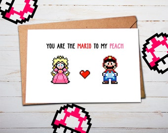 Super Mario, Valentine Card, Mario Valentines, Mario Gifts, Birthday Card, Anniversary Card, Card for Him, Card for Boyfriend, Card Husband