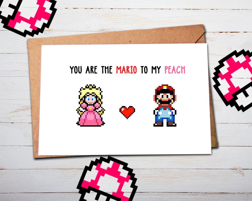 Super Mario Valentine Card Mario Valentines Mario Gifts – Mario Valentines Cards