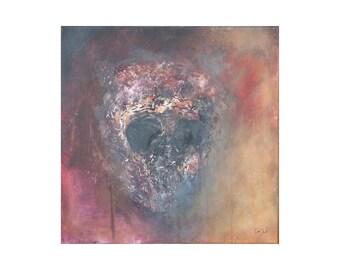 Tableau contemporain crâne tête de mort noir rouge jaune moderne Gothique multicolore Peinture vanité texture relief cadeau femme homme ado