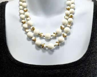 Vintage Beaded Necklace-Monet, double strand necklace,white & gold, Classy Formal Vintage designer-Gift For Her-Gift For Mom-Unique Jewelry