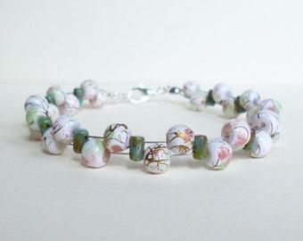 White and Pink Bracelet, Czech Aqua Beaded Bracelet, White Bracelet, Pink Bracelet, Aqua Bracelet, Turquoise Bracelet, Czech Bracelet